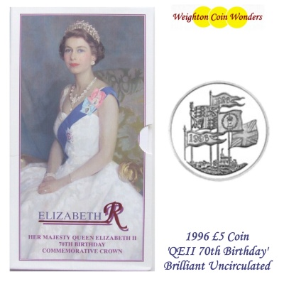 1996 BU £5 Crown Pack – QEII 70th Birthday